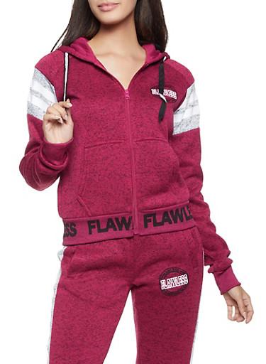 Flawless Hooded Zip Sweatshirt,BURGUNDY,large