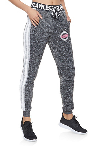 Flawless Varsity Stripe Joggers,CHARCOAL,large