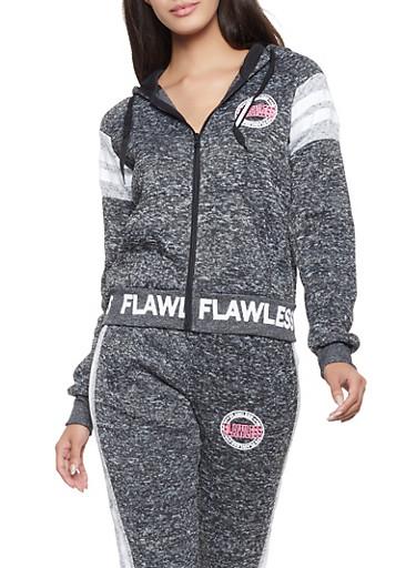 Marled Faith Hooded Sweatshirt,CHARCOAL,large