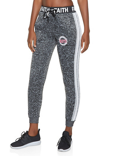 Marled Faith Graphic Joggers,CHARCOAL,large