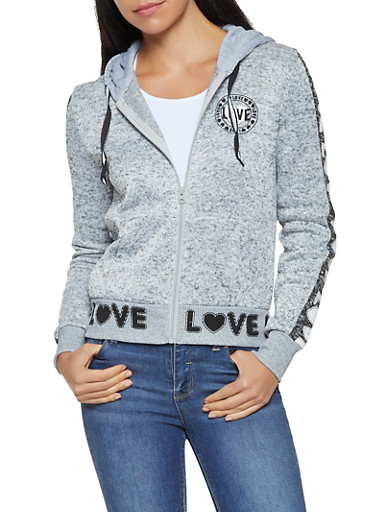 Love Graphic Hooded Sweatshirt,HEATHER,large