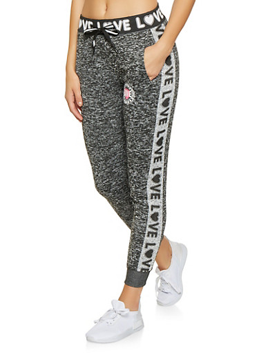 Love Graphic Joggers,CHARCOAL,large