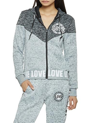 Love Graphic Zip Up Sweatshirt,HEATHER,large