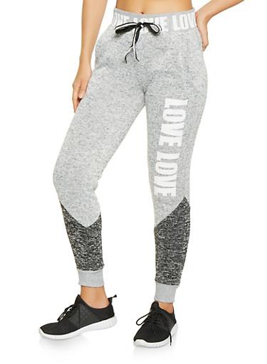 Love Graphic Marled Sweatpants,HEATHER,large