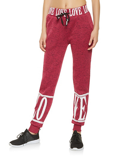 Love Graphic Sweatpants,BURGUNDY,large