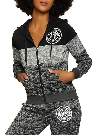 Color Block Hooded Love Sweatshirt,BLACK,large