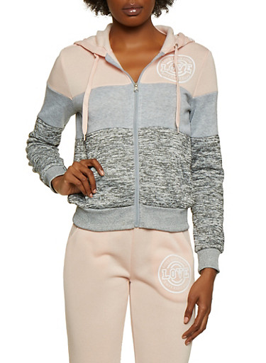 Color Block Hooded Love Sweatshirt,MAUVE,large