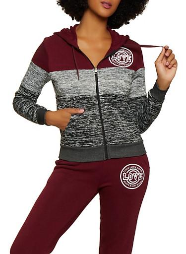 Color Block Hooded Love Sweatshirt,BURGUNDY,large