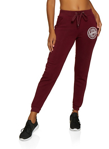 Love Graphic Joggers | 3056051068361,BURGUNDY,large
