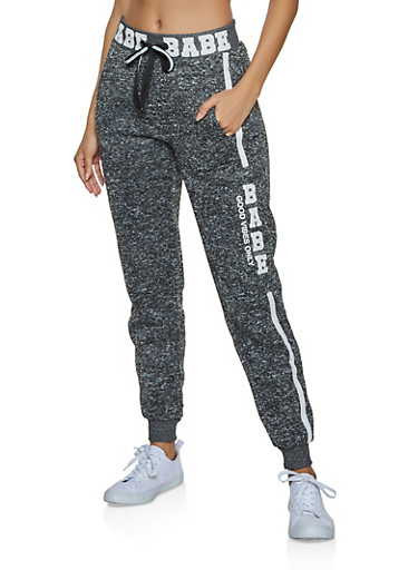 Babe Good Vibes Only Joggers,CHARCOAL,large