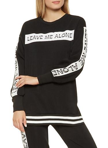 Graphic Fleece Lined Sweatshirt,BLACK,large
