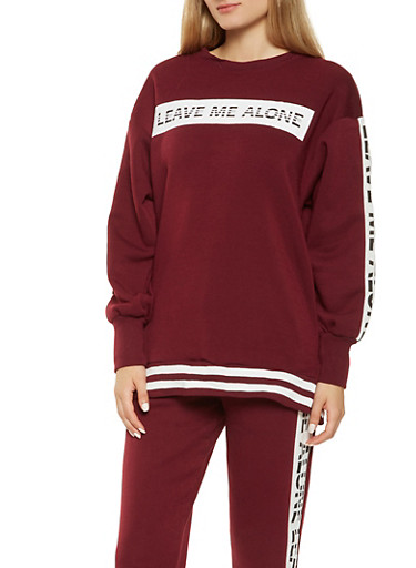 Graphic Fleece Lined Sweatshirt,BURGUNDY,large