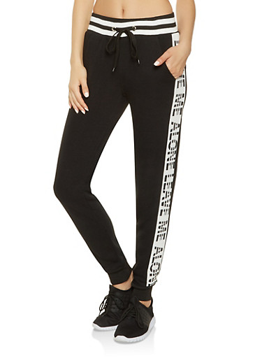 Graphic Side Stripe Sweatpants,BLACK,large