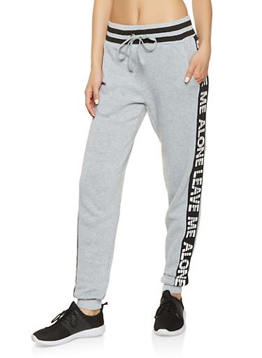 Graphic Side Stripe Sweatpants,HEATHER,large