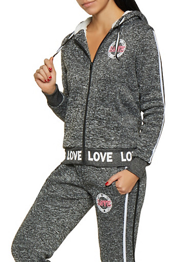 Love Graphic Sherpa Lined Sweatshirt,CHARCOAL,large