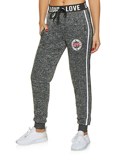 Love Graphic Marled Sweatpants,CHARCOAL,large