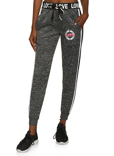 Varsity Stripe Love Graphic Knit Joggers,CHARCOAL,large