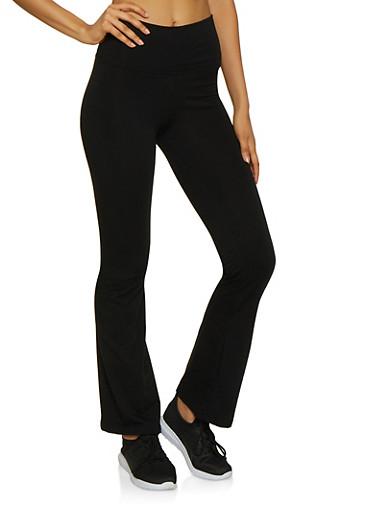 Flared Leg Yoga Pants,BLACK,large