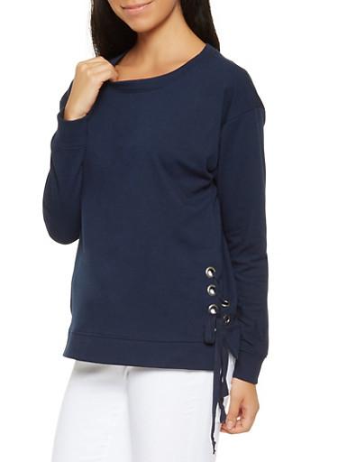 Lace Up Side Sweatshirt,NAVY,large