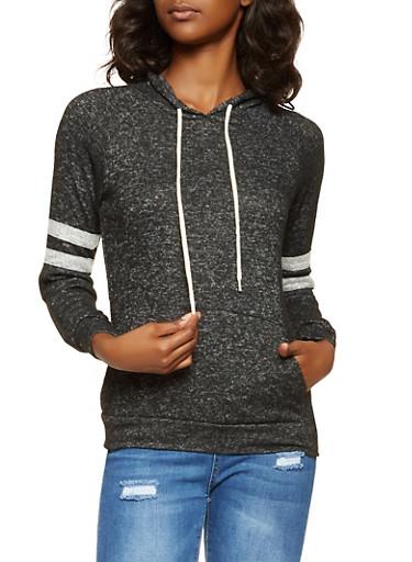 Brushed Knit Hooded Sweatshirt,BLACK,large