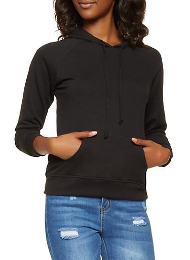 Long Sleeve Hooded Sweatshirt,BLACK,large