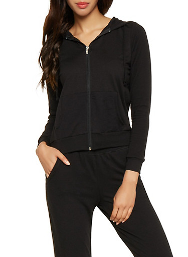 Hooded Zip Up Sweatshirt,BLACK,large