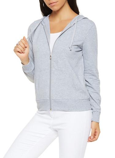Hooded Zip Up Sweatshirt,HEATHER,large