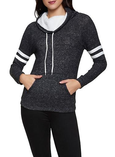 Sherpa Trim Funnel Neck Sweatshirt,BLACK,large