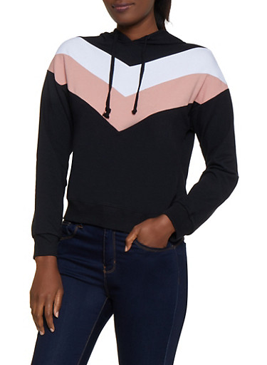 Chevron Detail Pullover Sweatshirt,BLACK,large