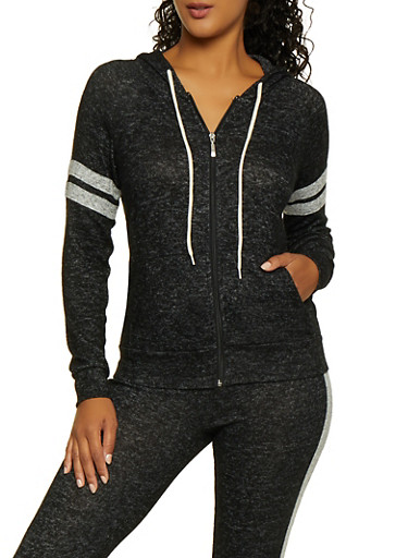 Hooded Varsity Stripe Knit Sweatshirt,BLACK,large