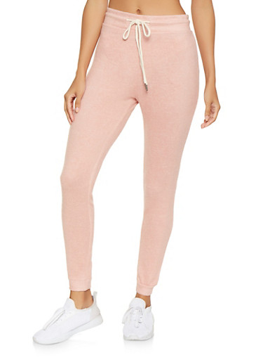 Brushed Knit Joggers,MAUVE,large