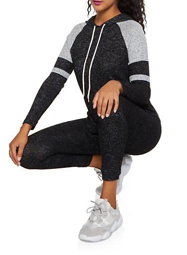 Color Block Brushed Knit Hooded Top,BLACK,large