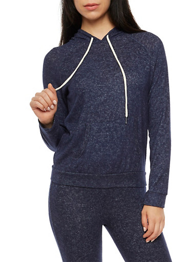 Soft Terry Knit Hooded Sweatshirt,ECLIPSE,large