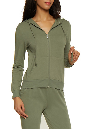 Zip Up French Terry Lined Sweatshirt,OLIVE,large