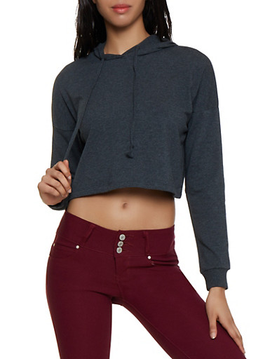 Long Sleeve Hooded Crop Top,CHARCOAL,large