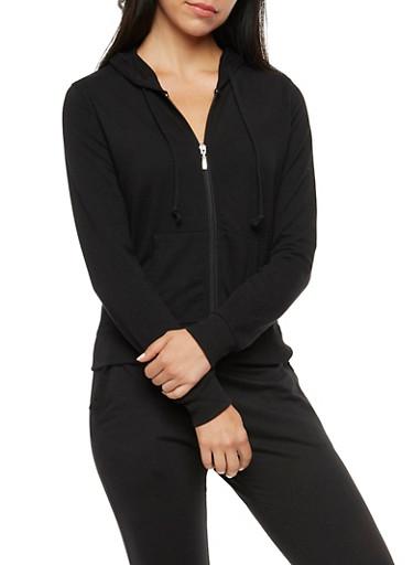 Zip Front Hoodie,BLACK,large