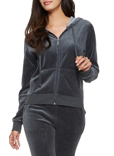 Velour Zip Up Hoodie,CHARCOAL,large
