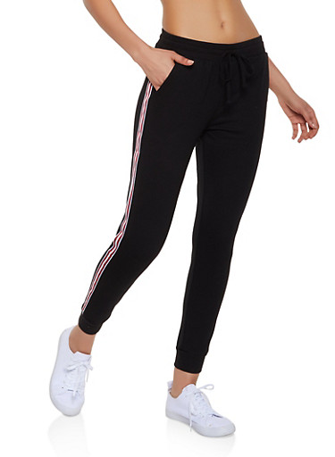 Striped Tape French Terry Joggers,BLACK,large