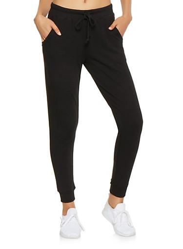 Ribbed Knit Trim Sweatpants,BLACK,large
