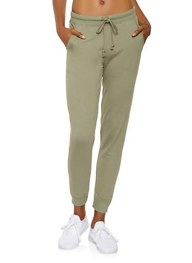 Ribbed Knit Trim Sweatpants,OLIVE,large
