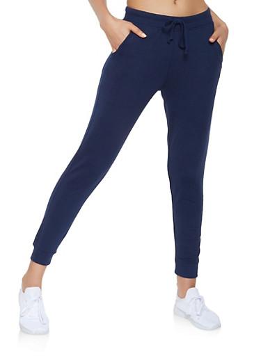 Ribbed Knit Trim Sweatpants,NAVY,large