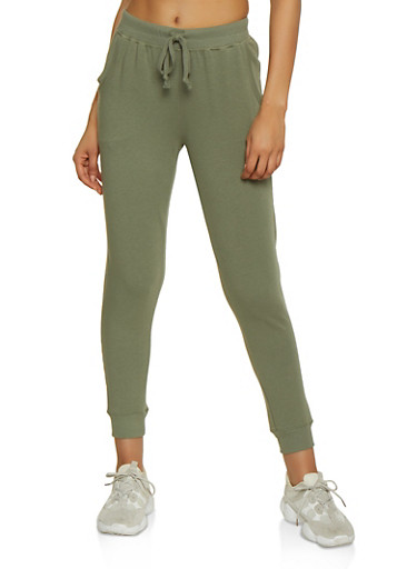 Solid French Terry Lined Joggers,OLIVE,large