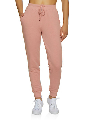 Solid French Terry Lined Joggers,MAUVE,large
