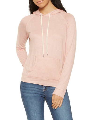 Hooded Brushed Knit Sweatshirt,MAUVE,large