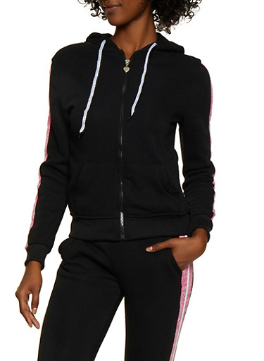 Striped Trim Zip Sweatshirt,BLACK,large