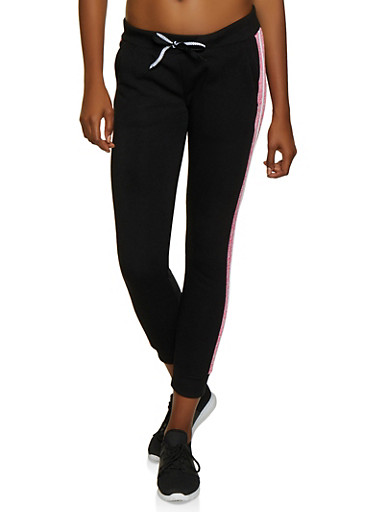 Striped Trim Fleece Joggers,BLACK,large