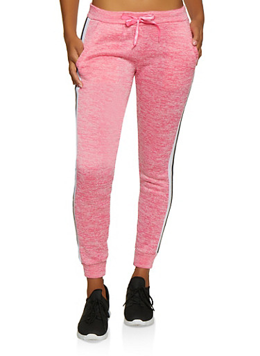 Striped Trim Fleece Joggers,FUCHSIA,large