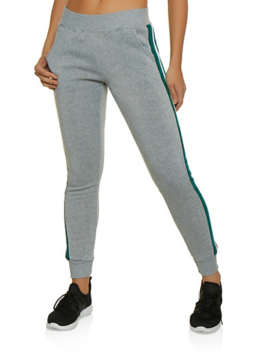 Marled Color Block Detail Sweatpants,HEATHER,large