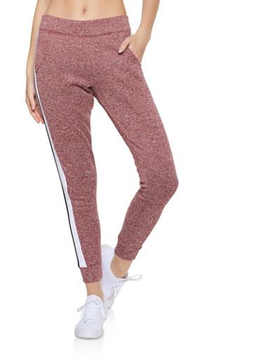 Marled Color Block Detail Sweatpants,BURGUNDY,large