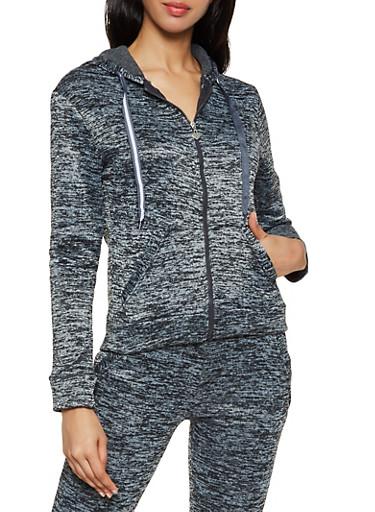 Fleece Lined Marled Sweatshirt,CHARCOAL,large